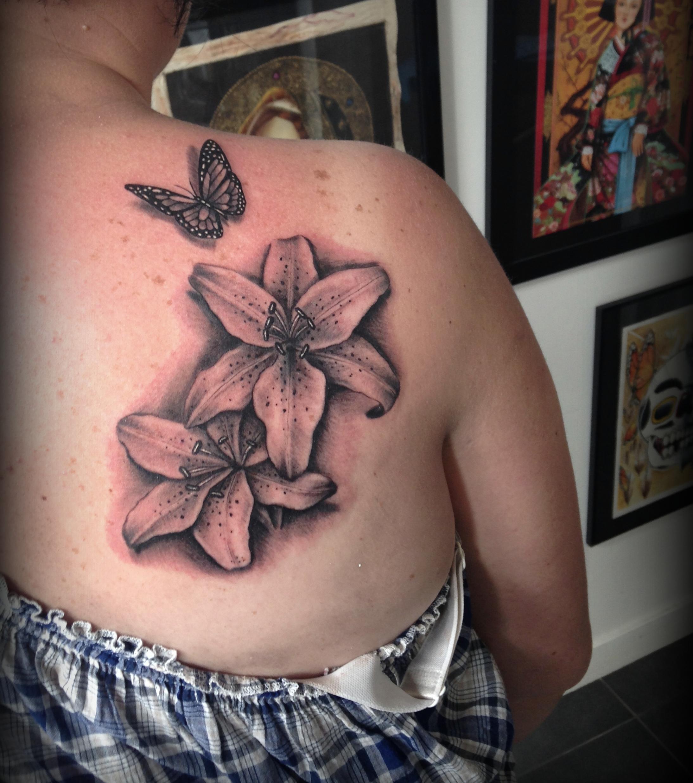 26 Tattoo Motive Blumenranke Lilien Lily