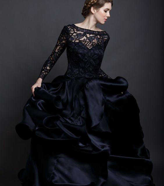 Ausgefallene Schwarze Hochzeitskleider