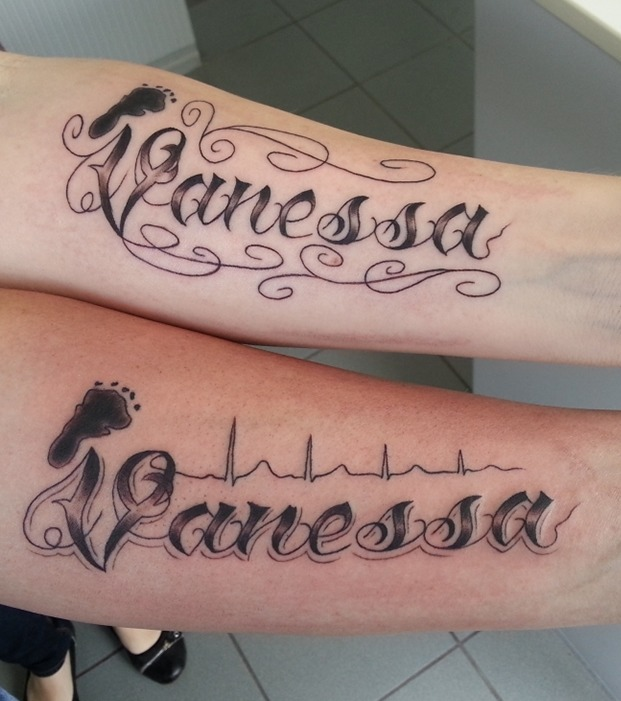 tattoo kindernamen unterarm