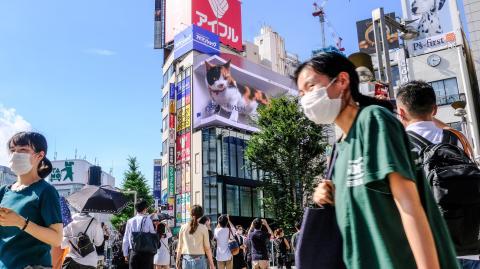 Japan perfektioniert Werbetafeln: Riesige Katze auf einem Gebäude in Japan